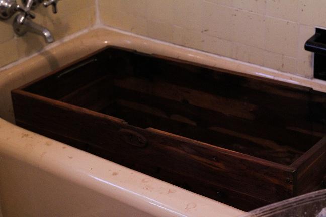 trunk in bathtub