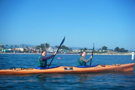 Just a couple of friends, paddling through the waves of life.