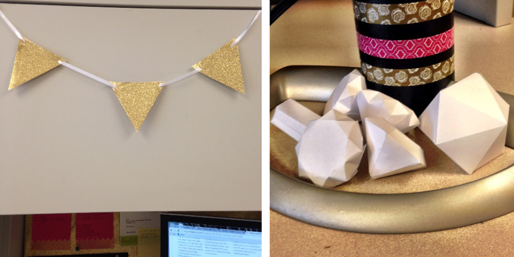 Hung some adorable glitter bunting and created a Paper Gem Garden.
